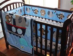 Baby Boy Monkey Crib Bedding Sets 2016 Embroidery Monkey Elephant Navigation Blue Sea Whale Baby