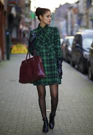 dress from brussels with love blogger gloves tartan winter