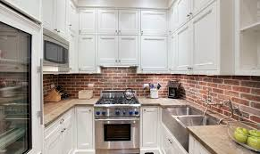 splendid decorating ideas using brown brick backsplash and silver awesome design ideas uisng shaped white wooden cabinets and rectangular silver sinks also with brown