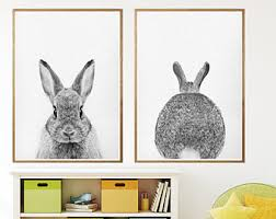 rabbit poster rabbit print etsy