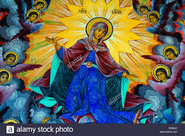 religious mural painting stock photos religious mural painting wall painting mural or fresco of the virgin mary with angels at the monastery in rila
