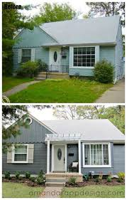 before after bungalow pergola above front door slate blue