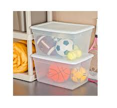 amazon com sterilite 58 quart see through plastic storage box