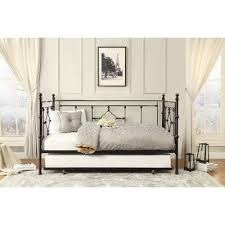 Black Classic Contemporary Metal Daybed With Trundle Alexis RC - Rc willey black bedroom set