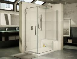 white color of subway ceramic wall tiles in shower cabin with
