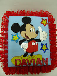 Mickey Mouse Photo Album Mickey Mouse Personalized Handmade Fabric Covered Red Lace Photo