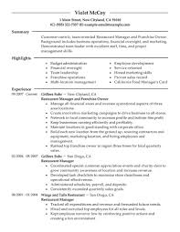 Restaurant Resume Samples by Best Franchise Owner Resume Example Livecareer