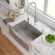 stainless farmhouse kitchen sink kraus handmade 16 gauge stainless steel 29 75 x 20 75 apron front
