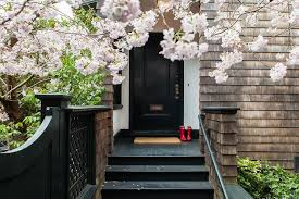 Front Entry Stairs Design Ideas Black Front Door Transitional Home Exterior