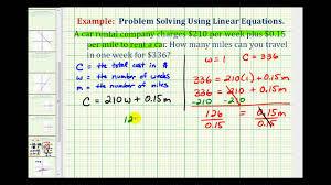ex linear equation cost of a al car