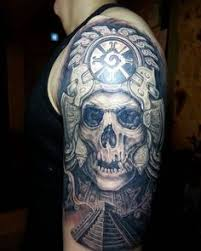 skull with mayan pyramid male half sleeve tattoo tattoo favs