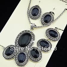 silver necklace bracelet set images Wholesale big promotions antique silver 3pcs square rectangle red jpg