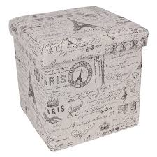 fabric storage cube ottoman amazon com songmics paris eiffel fabric storage ottoman underdesk