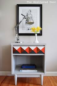 orange grey and white geometric nightstand the weathered door