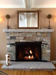 fireplace design plan with cultured stone frames and dark arch