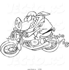 vector of a cartoon biker pig outlined coloring page by toonaday