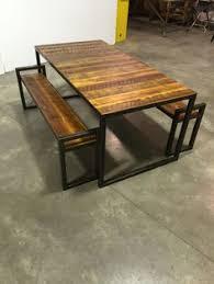 steel reclaimed barn wood patio dining table https www etsy