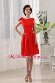 a line knee length red homecoming dress with scoop neckline