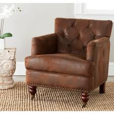 Leather Chair With Ottoman Home Styles Miles Saddle Brown Faux Leather Arm Chair With Ottoman