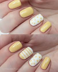 summer yellow dots stripes nail design my nail design