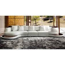 wood trim sofa divani casa rodus rounded corner leather sectional sofa with
