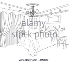 bedroom interior drawing by pencil with bed and a window stock