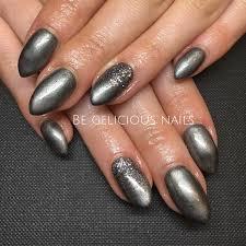 calgel nails gel nail art nail design metallic grey glitter