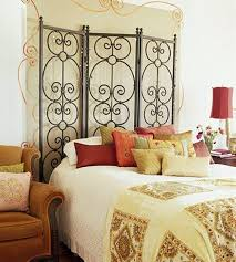 Wood And Wrought Iron Headboards Bedroom Enchanting Wrought Iron Headboard With Elegant Bedding