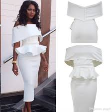 2017 white off shoulder bodycon peplum dress 2017 modest