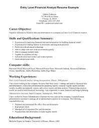 Financial Analyst Resume Sample by Entry Level Financial Analyst Resume Berathen Com