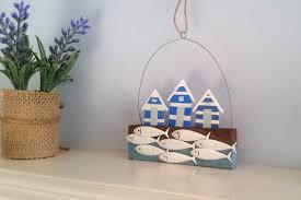 Nautical Home Accessories Beach Hut And Fish Shoal Wall Hanger Sea Themed Homeware