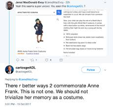 halloween costume company was selling anne frank