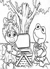 kermit picnic piggy muppet babies coloring pages