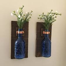 Vase Wall Sconce Rustic Blue Flower Hanging Vase Wall Sconce Set Of 2