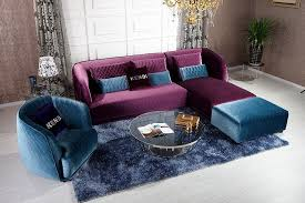 Purple Sectional Sofa Venice Furniture K8434 Transitional Purple Floss Fabric