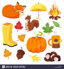 imagenes animadas de otoño estilo de dibujos animados de vectores de símbolos de otoño fox