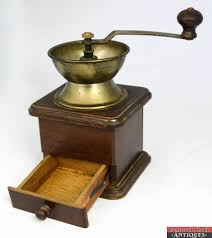 Antique Electric Coffee Grinder Vtg Wooden Brass Hopper Hand Turn Coffee Bean Mill Grinder