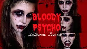 bloody psycho halloween makeup tutorial youtube