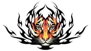 awesome orange tribal tiger tattoo design for men tattooimages biz