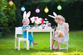 easter tea party kids easter tea party with toys stock photo thinkstock