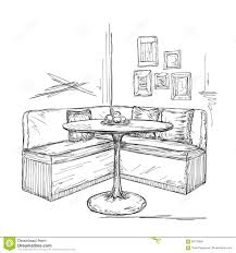 cafe or kitchen interior table and sofa sketch stock vector