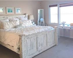 White Wood King Bed Frame Timber Frame Trestle Bed Rustic Bed Big Timber Bed Bed