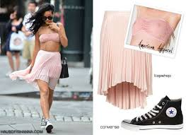 rihanna in lace bandeau and pleated skirt haus of rihanna