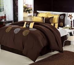 Machine Washable Comforters 12pc Willow Brown Yellow Luxury Bedding Set Bed In A Bag