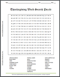 thanksgiving word search puzzle student handouts
