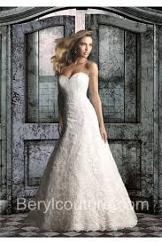 chapel wedding dresses a line strapless satin lace wedding dress chapel