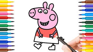 how to draw laughing peppa coloring pages for kids drawing