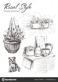 several sketches of objects from rural life dog flower pot with