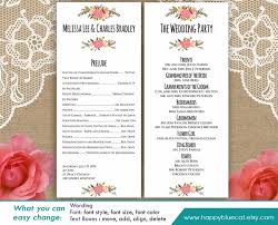 Print Your Own Wedding Programs Diy Printable Program Wedding Template Instant Download