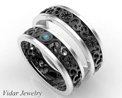 wedding sets his and hers his and hers blue diamond matching wedding band vidar jewelry